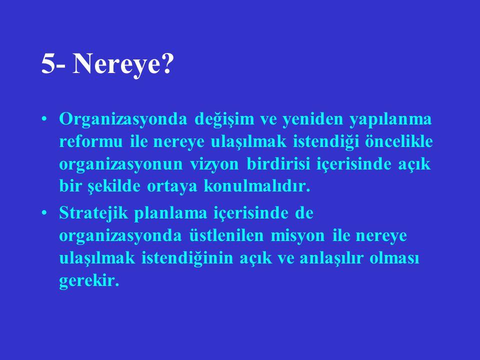 5- Nereye? Organizasyonda değişim ve yeniden yapılanma reformu ile nereye ulaşılmak istendiği öncelikle organizasyonun vizyon birdirisi içerisinde açı