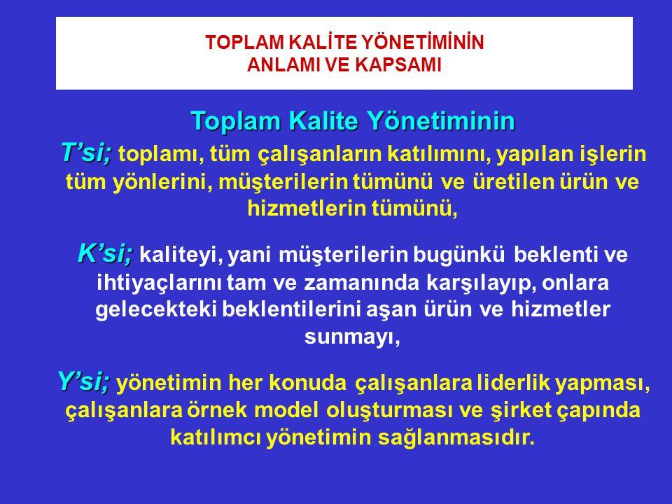 Toplam Kalite Yönetiminin T'si; T'si; toplamı, tüm çalışanların katılımını, yapılan işlerin tüm yönlerini, müşterilerin tümünü ve üretilen ürün ve hiz