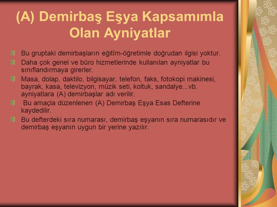 ESAS AMBAR DEFTERİ Ayniyat Yönetmeliğinin 19.20.