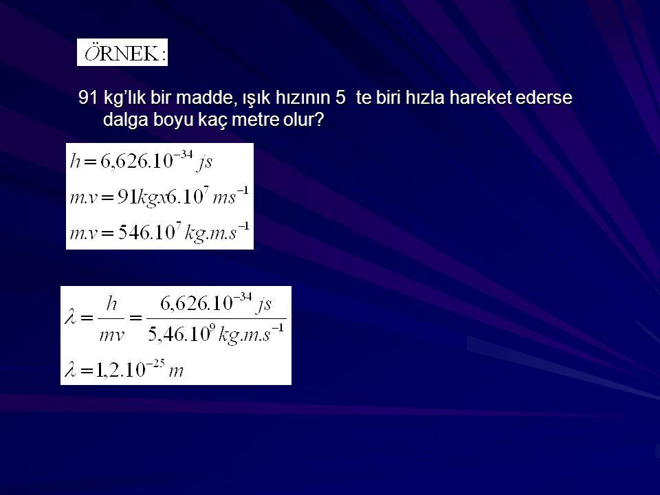 91 kg'lık bir madde, ışık hızının 5 te biri hızla hareket ederse dalga boyu kaç metre olur?