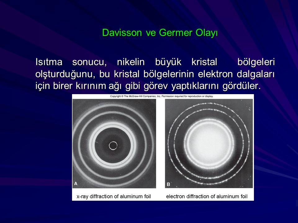 Davisson ve Germer Olayı Isıtma sonucu, nikelin büyük kristal bölgeleri olşturduğunu, bu kristal bölgelerinin elektron dalgaları için birer kırınım ağ