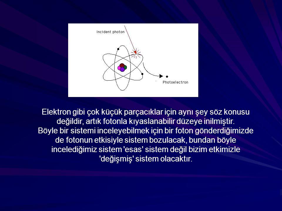 Elektron gibi çok küçük parçacıklar için aynı şey söz konusu değildir, artık fotonla kıyaslanabilir düzeye inilmiştir. Böyle bir sistemi inceleyebilme