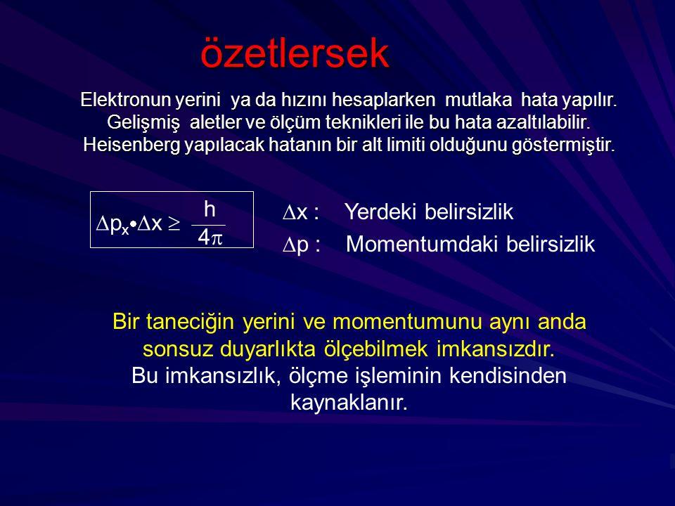  x : Yerdeki belirsizlik  p : Momentumdaki belirsizlik Elektronun yerini ya da hızını hesaplarken mutlaka hata yapılır. Gelişmiş aletler ve ölçüm te