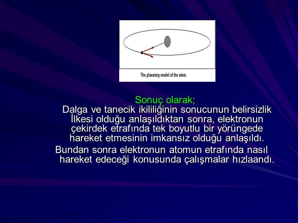 Sonuç olarak; Dalga ve tanecik ikililiğinin sonucunun belirsizlik İlkesi olduğu anlaşıldıktan sonra, elektronun çekirdek etrafında tek boyutlu bir yör