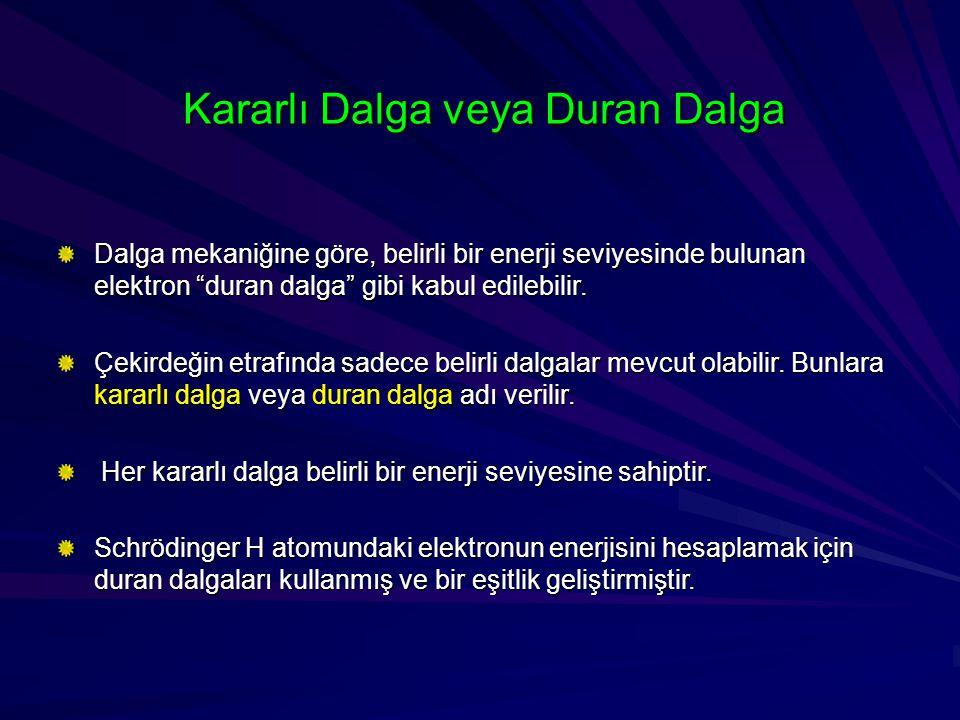 """Kararlı Dalga veya Duran Dalga Dalga mekaniğine göre, belirli bir enerji seviyesinde bulunan elektron """"duran dalga"""" gibi kabul edilebilir. Çekirdeğin"""