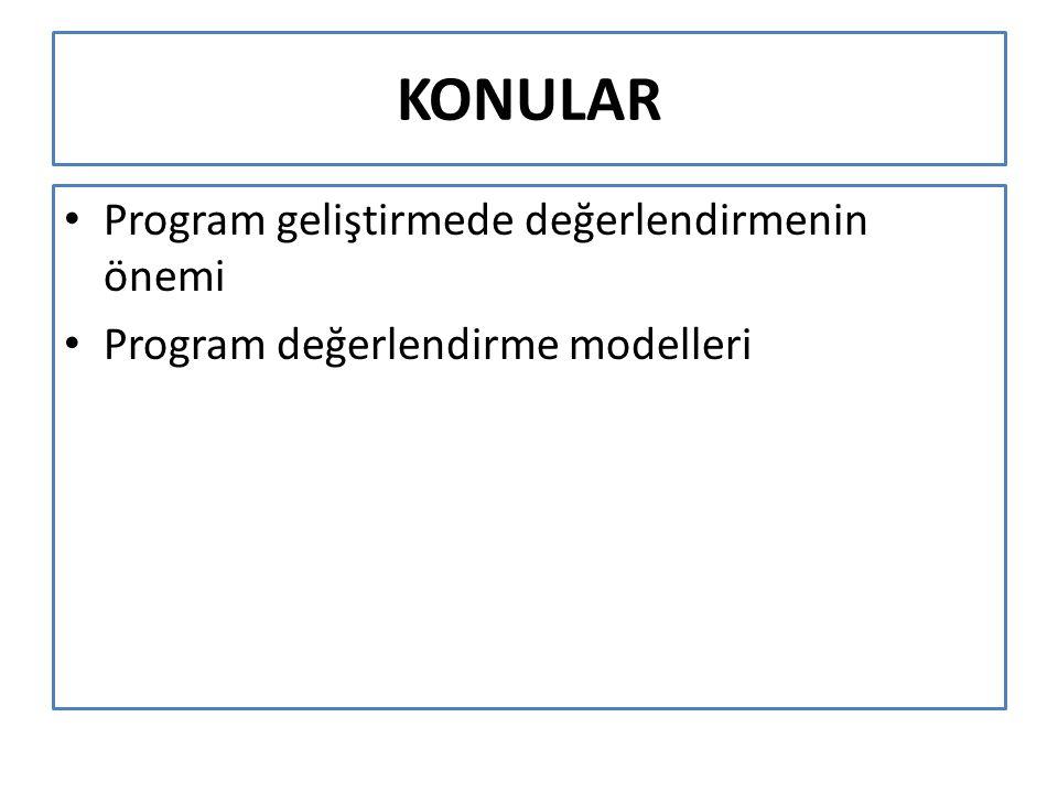 KONULAR Program geliştirmede değerlendirmenin önemi Program değerlendirme modelleri
