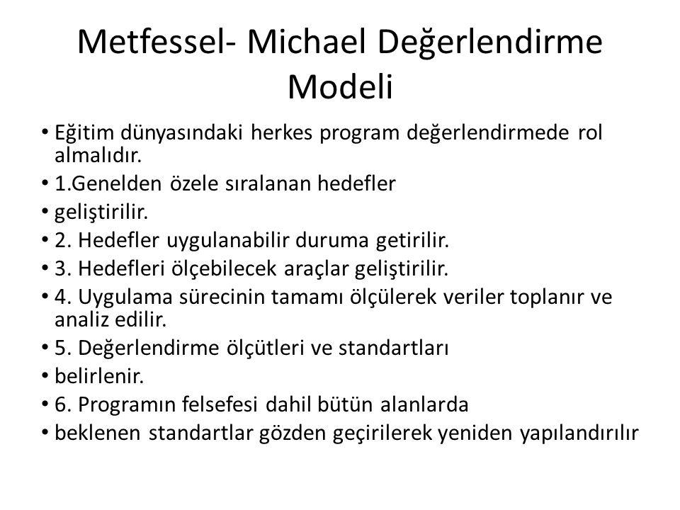 Metfessel- Michael Değerlendirme Modeli Eğitim dünyasındaki herkes program değerlendirmede rol almalıdır. 1.Genelden özele sıralanan hedefler geliştir