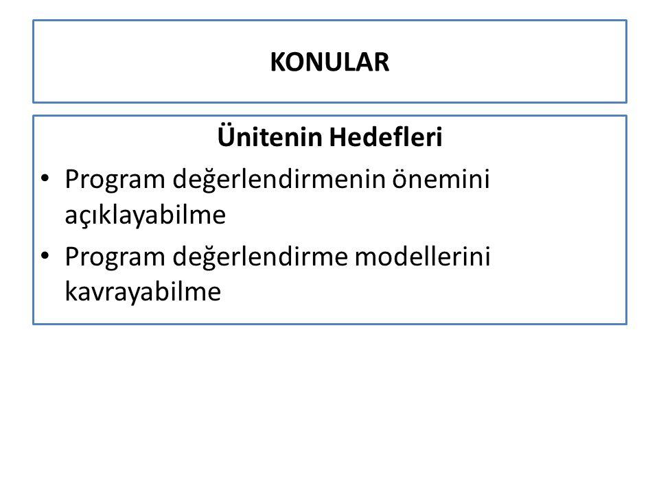 KONULAR Programın değerlendirme boyutu Amacına göre değerlendirme çeşitleri – Tanıma Yerleştirme – Düzey belirleme – Öğrenmeleri izleme Öğrenmeleri izleme sonuçlarının analizi