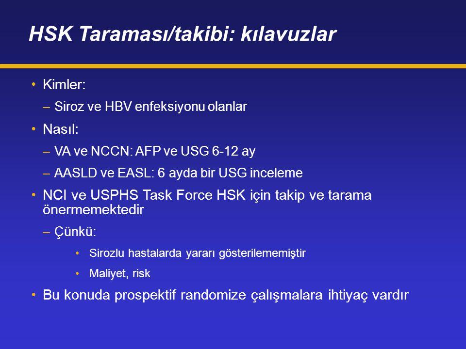 HSK Taraması/takibi: kılavuzlar Kimler: –Siroz ve HBV enfeksiyonu olanlar Nasıl: –VA ve NCCN: AFP ve USG 6-12 ay –AASLD ve EASL: 6 ayda bir USG incele
