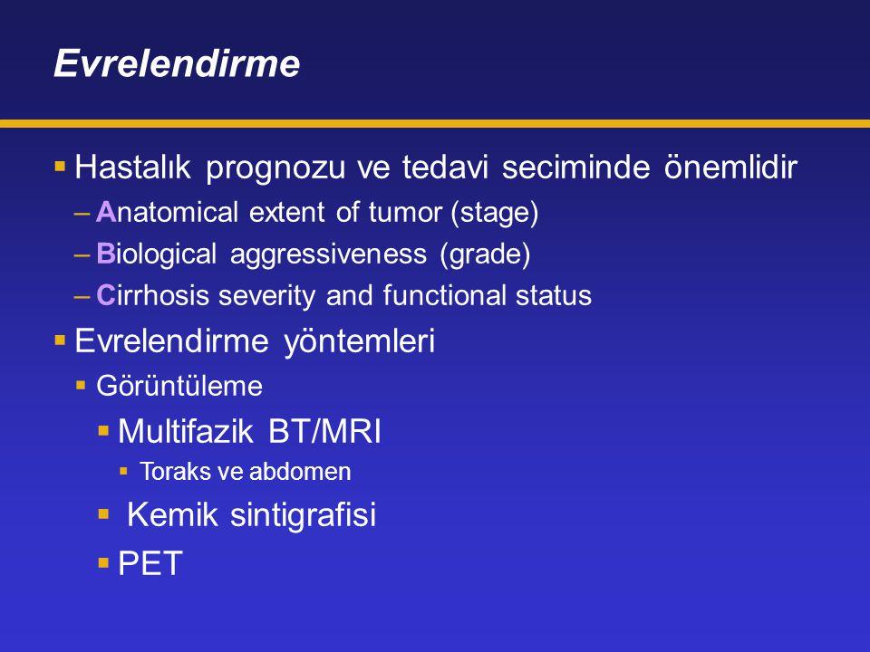 Evrelendirme  Hastalık prognozu ve tedavi seciminde önemlidir –Anatomical extent of tumor (stage) –Biological aggressiveness (grade) –Cirrhosis severity and functional status  Evrelendirme yöntemleri  Görüntüleme  Multifazik BT/MRI  Toraks ve abdomen  Kemik sintigrafisi  PET