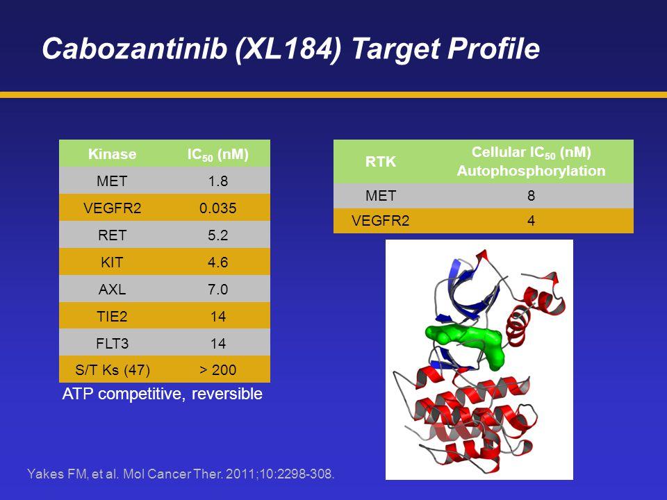 Cabozantinib (XL184) Target Profile KinaseIC 50 (nM) MET1.8 VEGFR20.035 RET5.2 KIT4.6 AXL7.0 TIE214 FLT314 S/T Ks (47)> 200 ATP competitive, reversibl