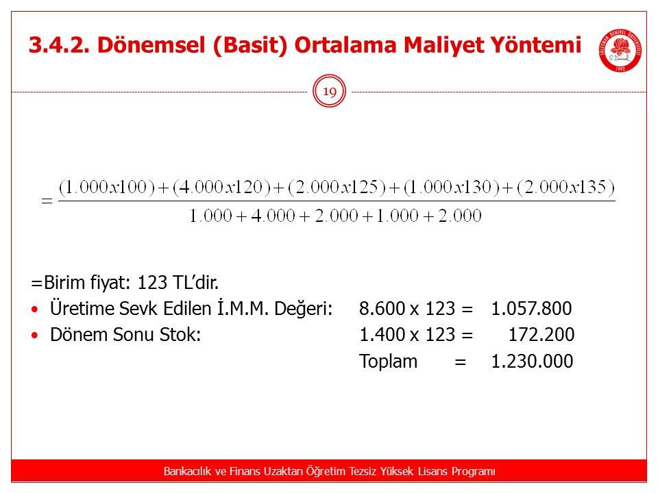 3.4.2. Dönemsel (Basit) Ortalama Maliyet Yöntemi Bankacılık ve Finans Uzaktan Öğretim Tezsiz Yüksek Lisans Programı 19 =Birim fiyat: 123 TL'dir. Üreti