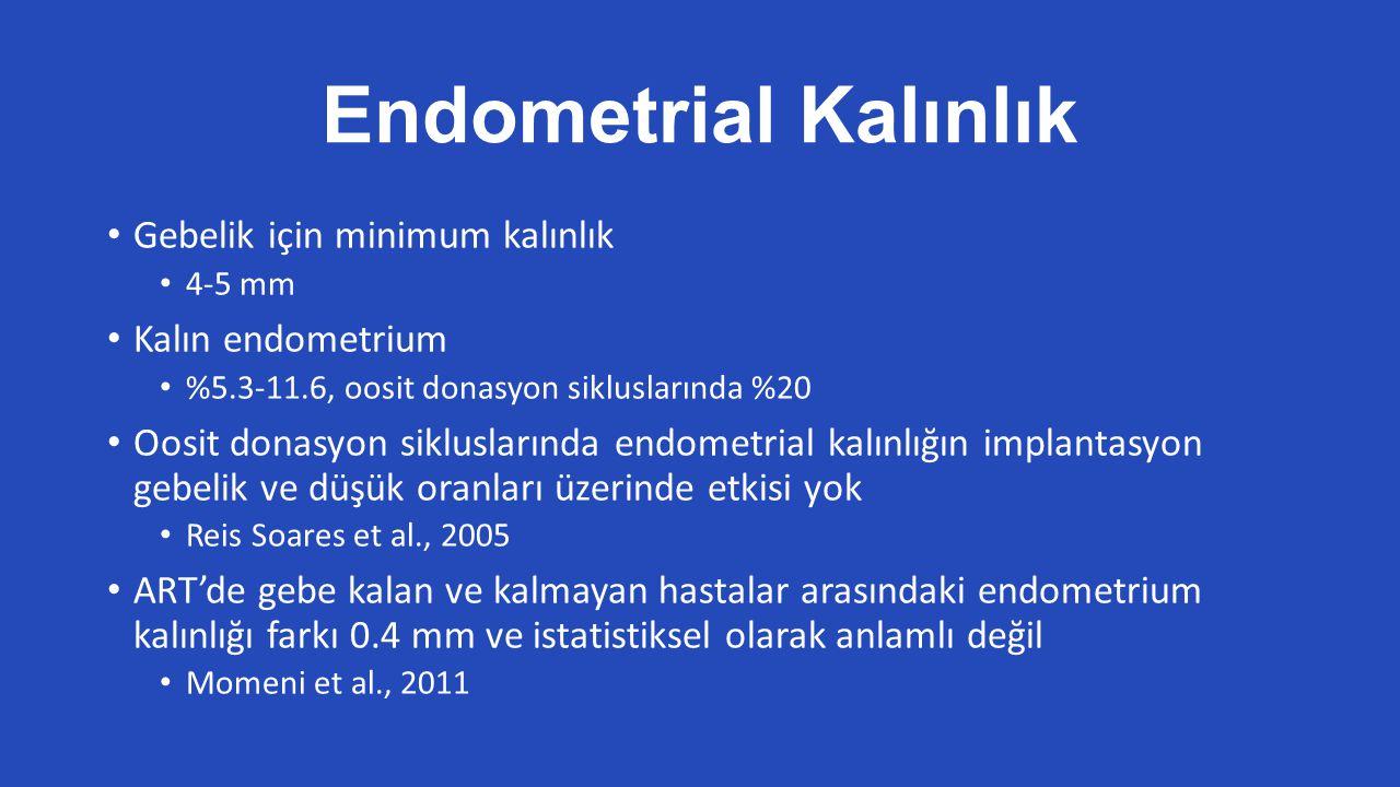 Endometrial Kalınlık Gebelik için minimum kalınlık 4-5 mm Kalın endometrium %5.3-11.6, oosit donasyon sikluslarında %20 Oosit donasyon sikluslarında endometrial kalınlığın implantasyon gebelik ve düşük oranları üzerinde etkisi yok Reis Soares et al., 2005 ART'de gebe kalan ve kalmayan hastalar arasındaki endometrium kalınlığı farkı 0.4 mm ve istatistiksel olarak anlamlı değil Momeni et al., 2011