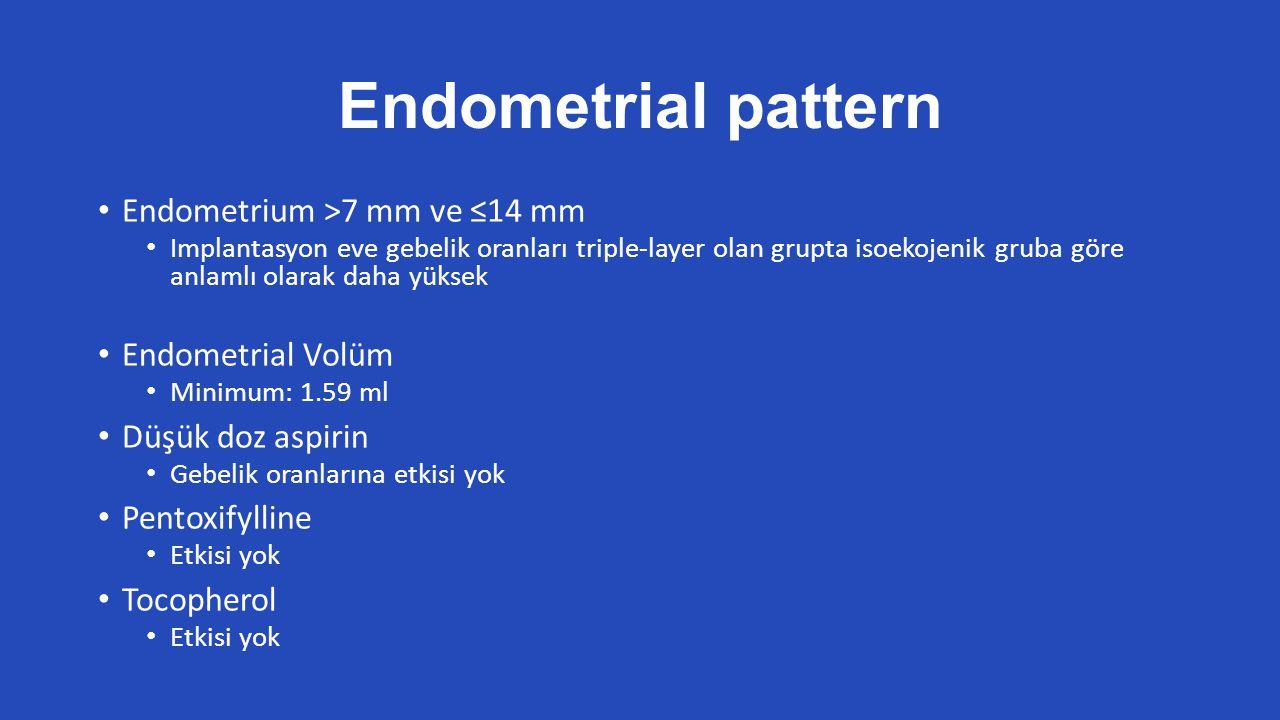 Endometrial pattern Endometrium >7 mm ve ≤14 mm Implantasyon eve gebelik oranları triple-layer olan grupta isoekojenik gruba göre anlamlı olarak daha yüksek Endometrial Volüm Minimum: 1.59 ml Düşük doz aspirin Gebelik oranlarına etkisi yok Pentoxifylline Etkisi yok Tocopherol Etkisi yok