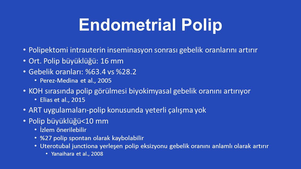 Endometrial Polip Polipektomi intrauterin inseminasyon sonrası gebelik oranlarını artırır Ort.