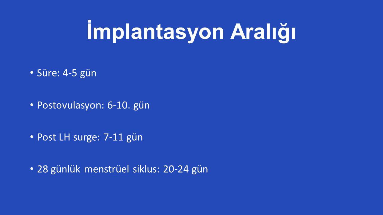 İmplantasyon Aralığı Süre: 4-5 gün Postovulasyon: 6-10.