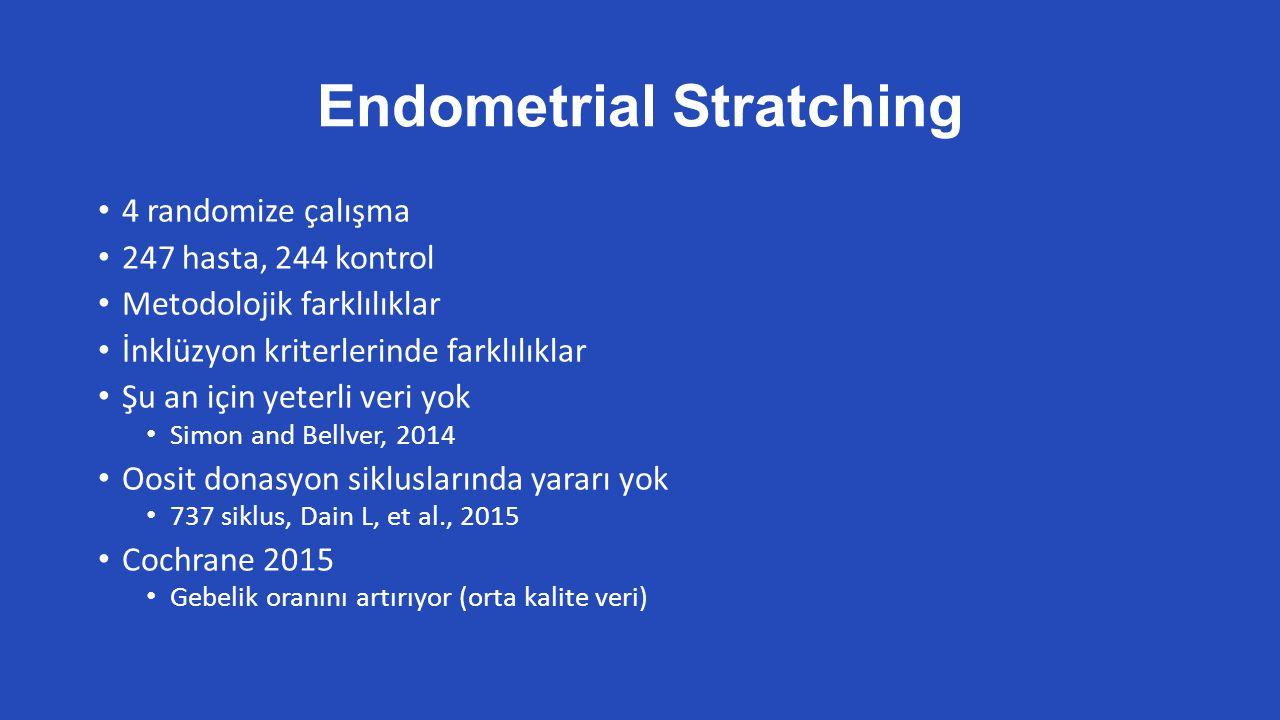 Endometrial Stratching 4 randomize çalışma 247 hasta, 244 kontrol Metodolojik farklılıklar İnklüzyon kriterlerinde farklılıklar Şu an için yeterli veri yok Simon and Bellver, 2014 Oosit donasyon sikluslarında yararı yok 737 siklus, Dain L, et al., 2015 Cochrane 2015 Gebelik oranını artırıyor (orta kalite veri)