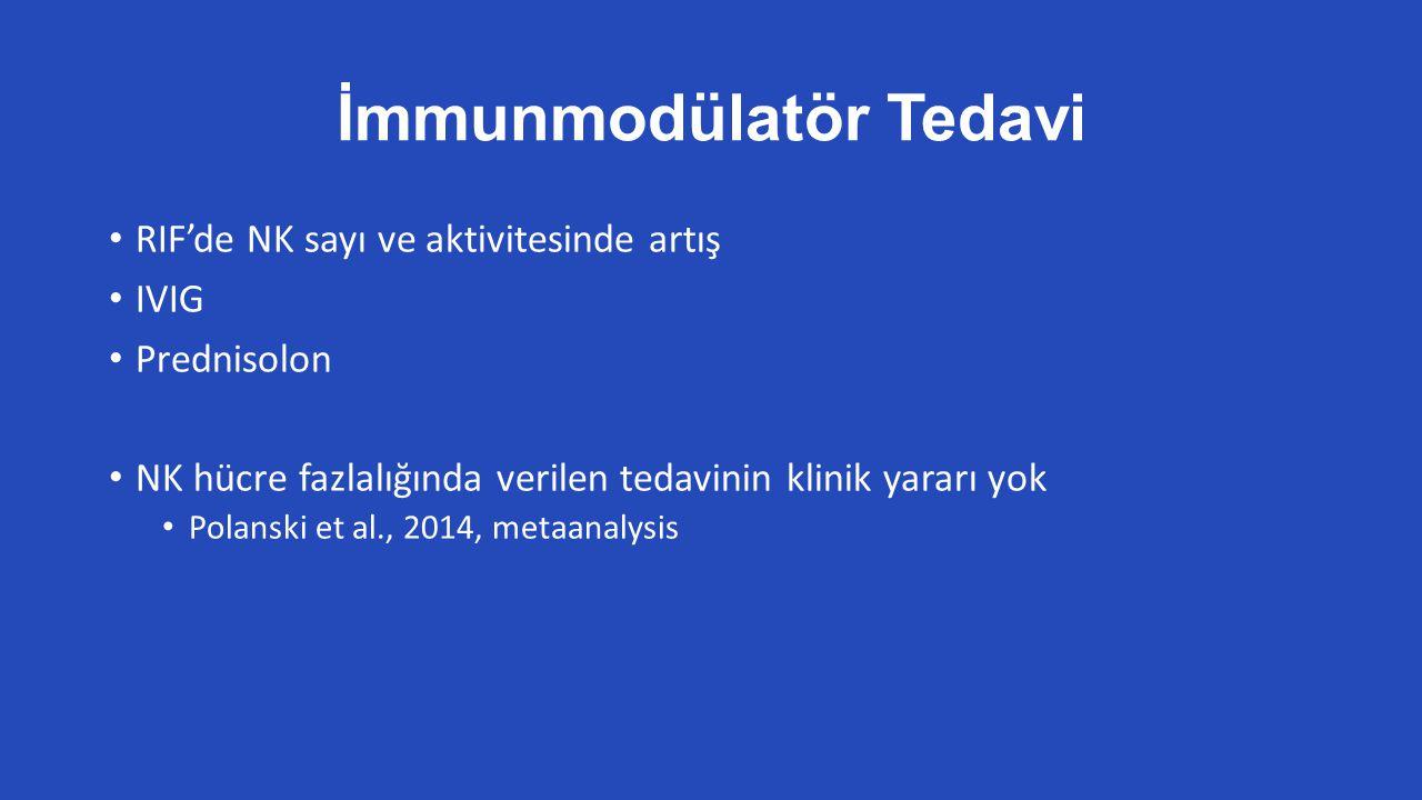 İmmunmodülatör Tedavi RIF'de NK sayı ve aktivitesinde artış IVIG Prednisolon NK hücre fazlalığında verilen tedavinin klinik yararı yok Polanski et al., 2014, metaanalysis