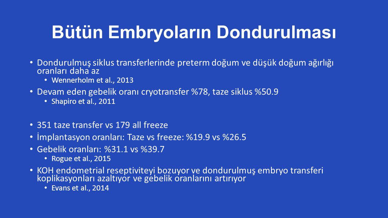 Bütün Embryoların Dondurulması Dondurulmuş siklus transferlerinde preterm doğum ve düşük doğum ağırlığı oranları daha az Wennerholm et al., 2013 Devam eden gebelik oranı cryotransfer %78, taze siklus %50.9 Shapiro et al., 2011 351 taze transfer vs 179 all freeze İmplantasyon oranları: Taze vs freeze: %19.9 vs %26.5 Gebelik oranları: %31.1 vs %39.7 Rogue et al., 2015 KOH endometrial reseptiviteyi bozuyor ve dondurulmuş embryo transferi koplikasyonları azaltıyor ve gebelik oranlarını artırıyor Evans et al., 2014