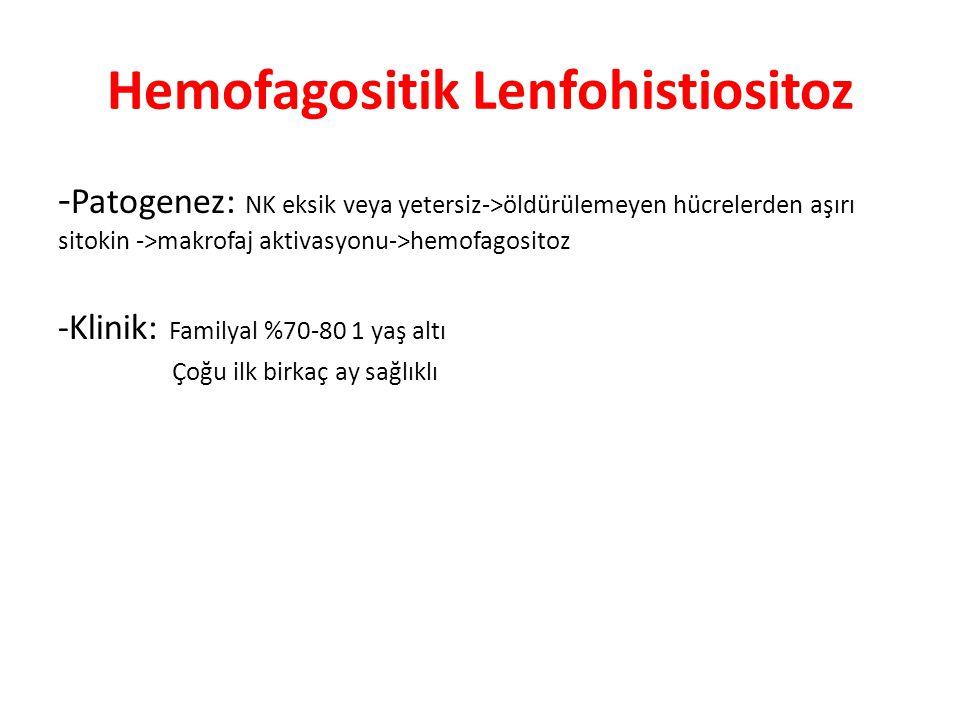 Hemofagositik Lenfohistiositoz - Patogenez: NK eksik veya yetersiz->öldürülemeyen hücrelerden aşırı sitokin ->makrofaj aktivasyonu->hemofagositoz -Kli