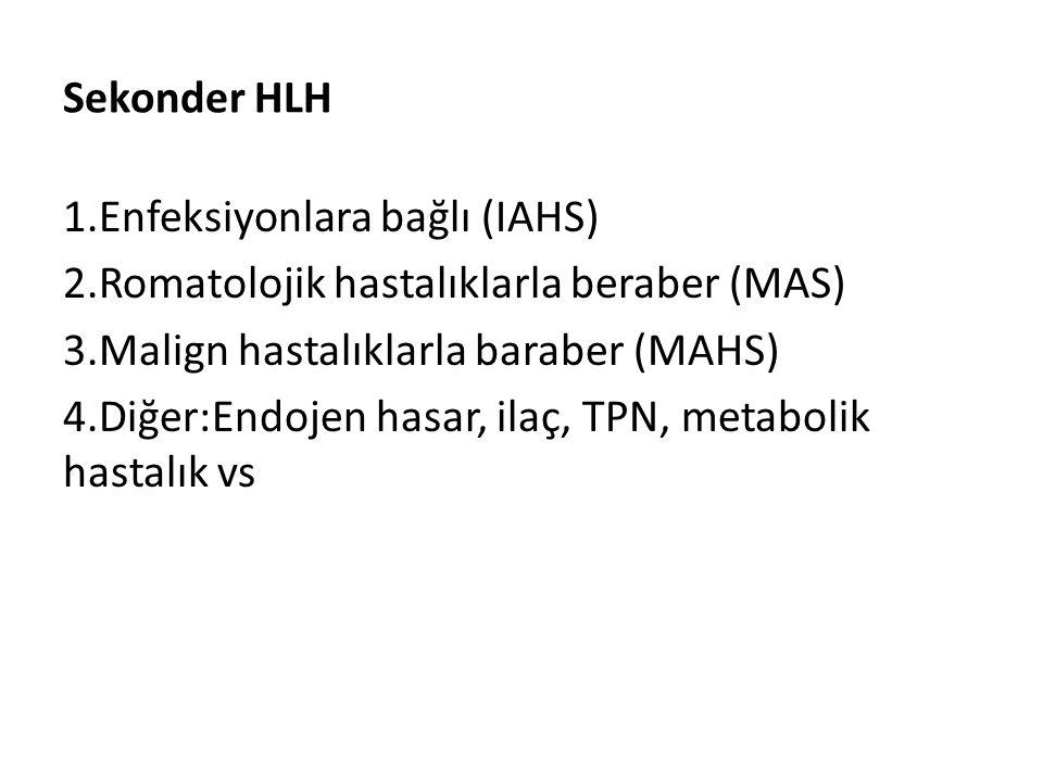 Sekonder HLH 1.Enfeksiyonlara bağlı (IAHS) 2.Romatolojik hastalıklarla beraber (MAS) 3.Malign hastalıklarla baraber (MAHS) 4.Diğer:Endojen hasar, ilaç
