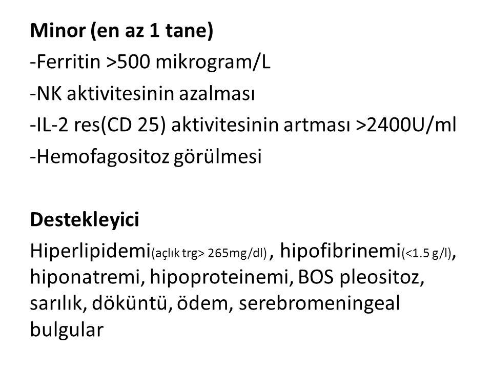Minor (en az 1 tane) -Ferritin >500 mikrogram/L -NK aktivitesinin azalması -IL-2 res(CD 25) aktivitesinin artması >2400U/ml -Hemofagositoz görülmesi D