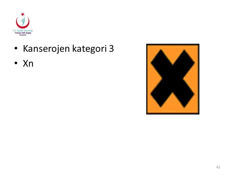 Kanserojen kategori 3 Xn 42