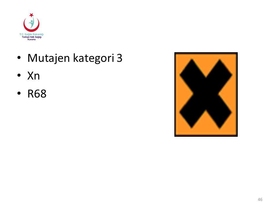 Mutajen kategori 3 Xn R68 46
