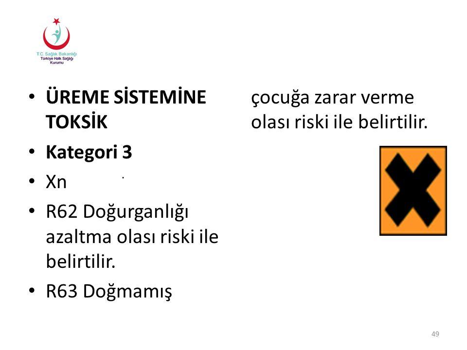 ÜREME SİSTEMİNE TOKSİK Kategori 3 Xn R62 Doğurganlığı azaltma olası riski ile belirtilir.