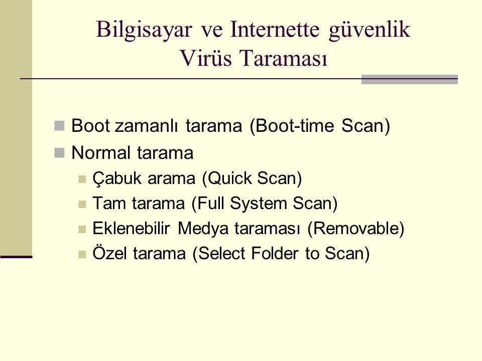 Bilgisayar ve Internette güvenlik Virüs Taraması Boot zamanlı tarama (Boot-time Scan) Normal tarama Çabuk arama (Quick Scan) Tam tarama (Full System Scan) Eklenebilir Medya taraması (Removable) Özel tarama (Select Folder to Scan)