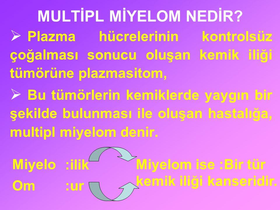BÖBREK BOZUKLUĞUNA (ÜREMİ) İLİŞKİN BELİRTİLER Myelomun en çok zarar verdiği organların başında böbrekler gelir.