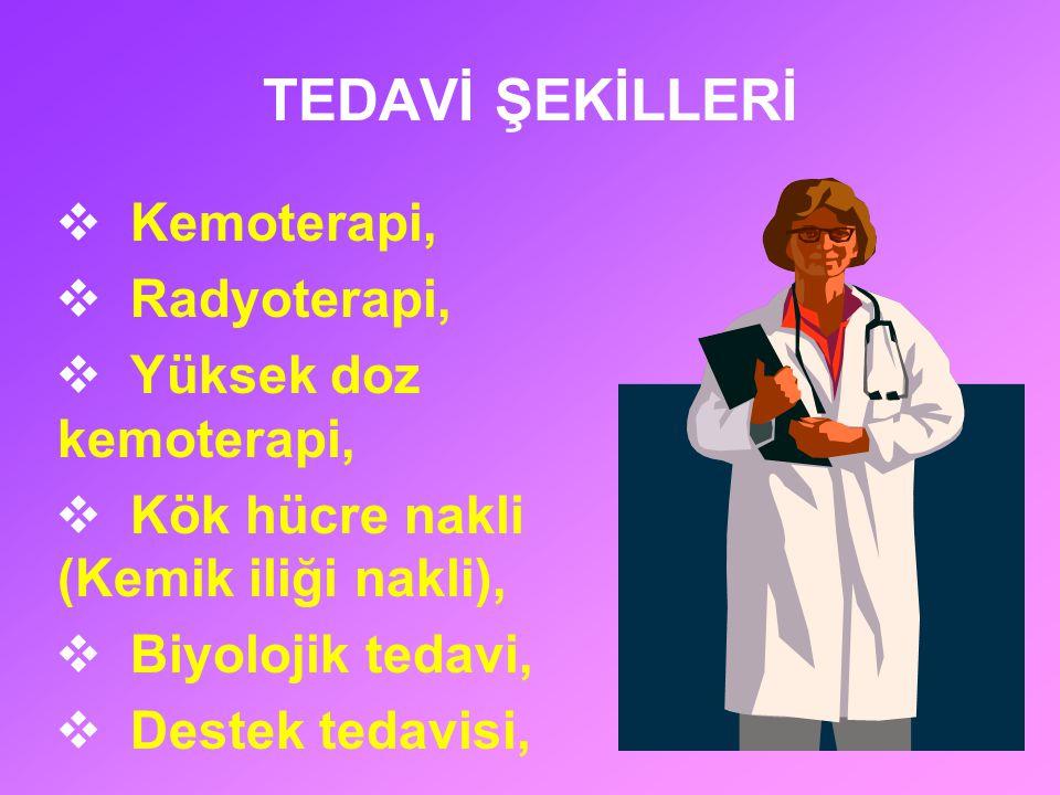 TEDAVİ ŞEKİLLERİ  Kemoterapi,  Radyoterapi,  Yüksek doz kemoterapi,  Kök hücre nakli (Kemik iliği nakli),  Biyolojik tedavi,  Destek tedavisi,
