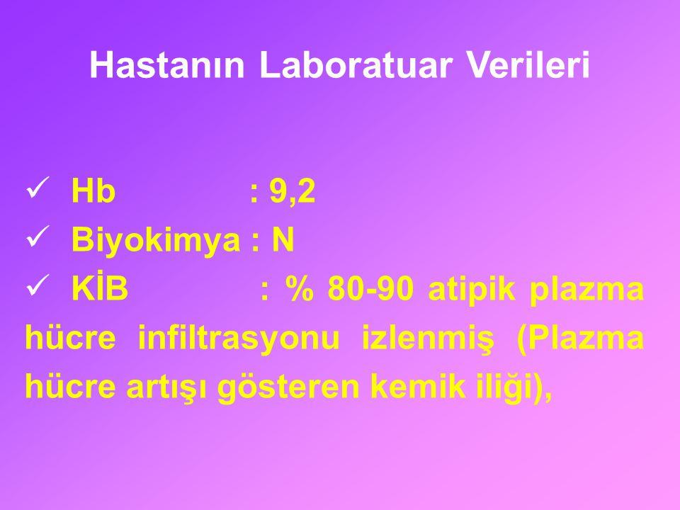 Hb : 9,2 Biyokimya : N KİB : % 80-90 atipik plazma hücre infiltrasyonu izlenmiş (Plazma hücre artışı gösteren kemik iliği), Hastanın Laboratuar Verile