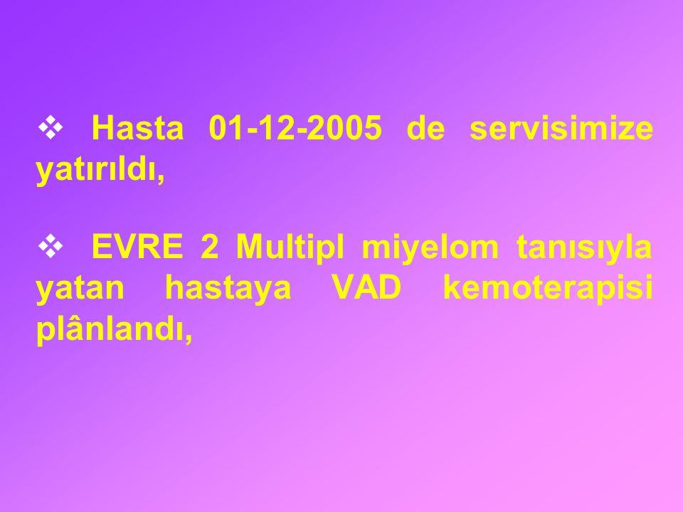  Hasta 01-12-2005 de servisimize yatırıldı,  EVRE 2 Multipl miyelom tanısıyla yatan hastaya VAD kemoterapisi plânlandı,