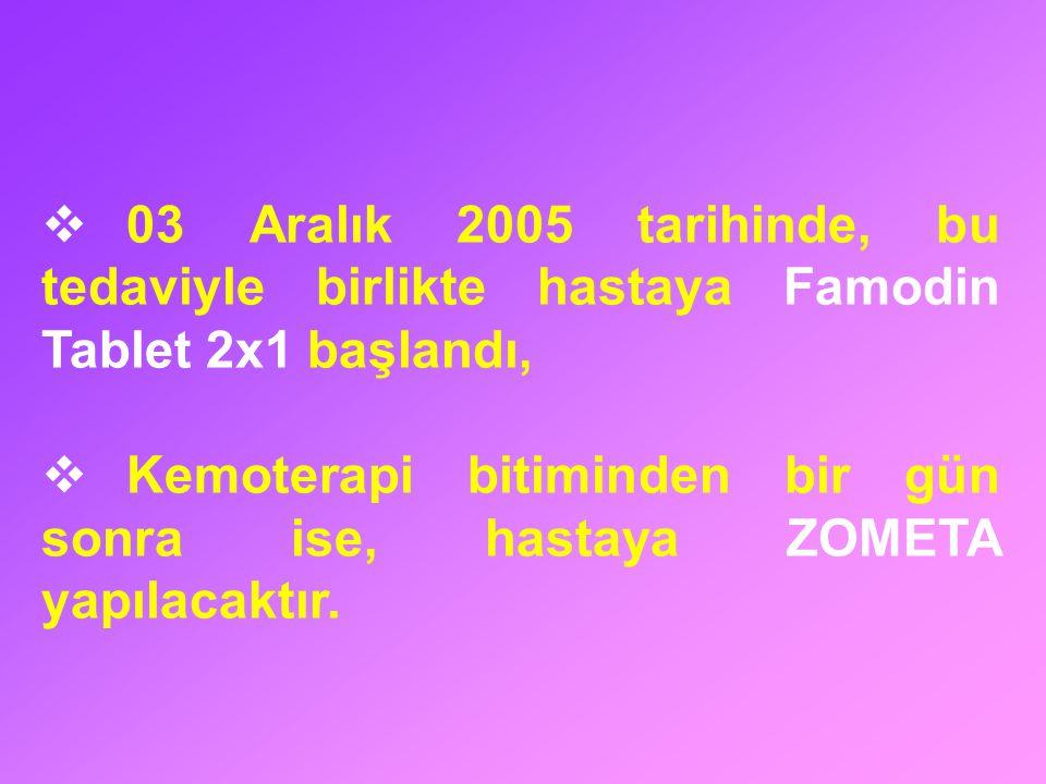  03 Aralık 2005 tarihinde, bu tedaviyle birlikte hastaya Famodin Tablet 2x1 başlandı,  Kemoterapi bitiminden bir gün sonra ise, hastaya ZOMETA yapıl