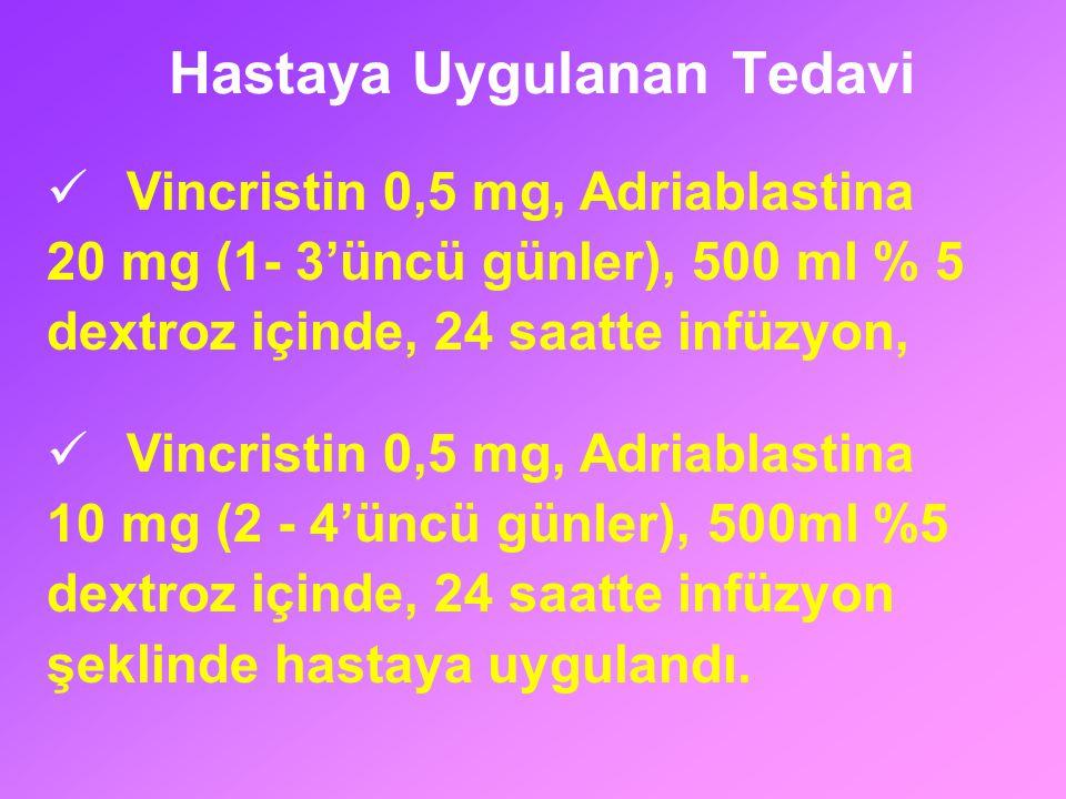 Hastaya Uygulanan Tedavi Vincristin 0,5 mg, Adriablastina 20 mg (1- 3'üncü günler), 500 ml % 5 dextroz içinde, 24 saatte infüzyon, Vincristin 0,5 mg,