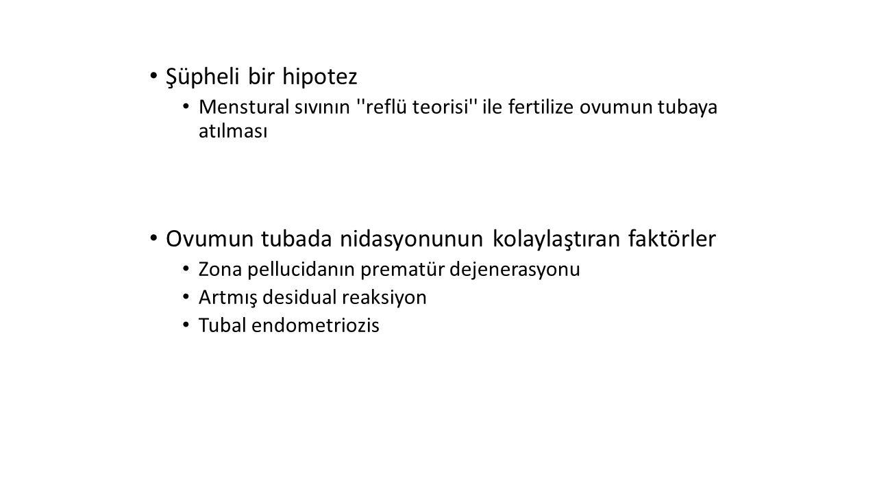 Şüpheli bir hipotez Menstural sıvının ''reflü teorisi'' ile fertilize ovumun tubaya atılması Ovumun tubada nidasyonunun kolaylaştıran faktörler Zona p