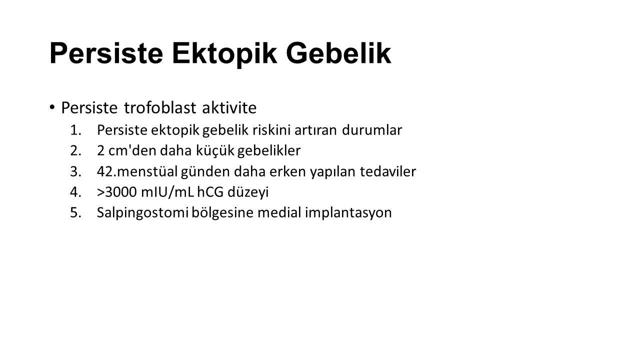 Persiste Ektopik Gebelik Persiste trofoblast aktivite 1.Persiste ektopik gebelik riskini artıran durumlar 2.2 cm'den daha küçük gebelikler 3.42.menstü