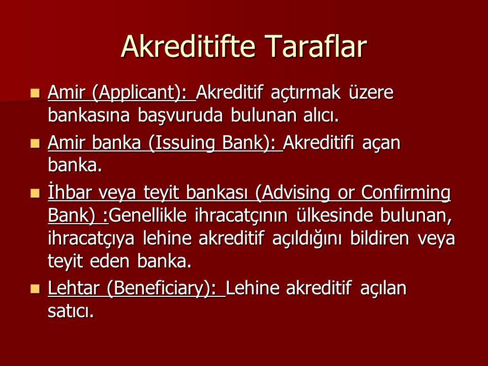 Akreditifte Taraflar Amir (Applicant): Akreditif açtırmak üzere bankasına başvuruda bulunan alıcı. Amir (Applicant): Akreditif açtırmak üzere bankasın