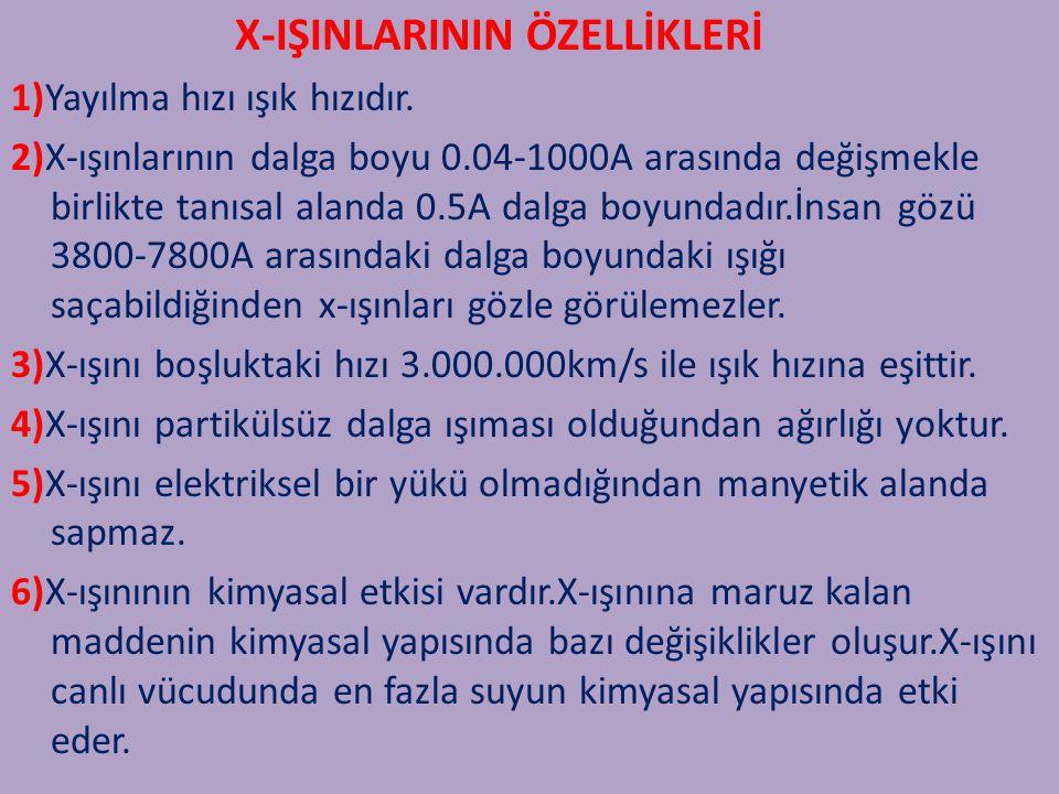 X-IŞINLARININ ÖZELLİKLERİ 1)Yayılma hızı ışık hızıdır. 2)X-ışınlarının dalga boyu 0.04-1000A arasında değişmekle birlikte tanısal alanda 0.5A dalga bo