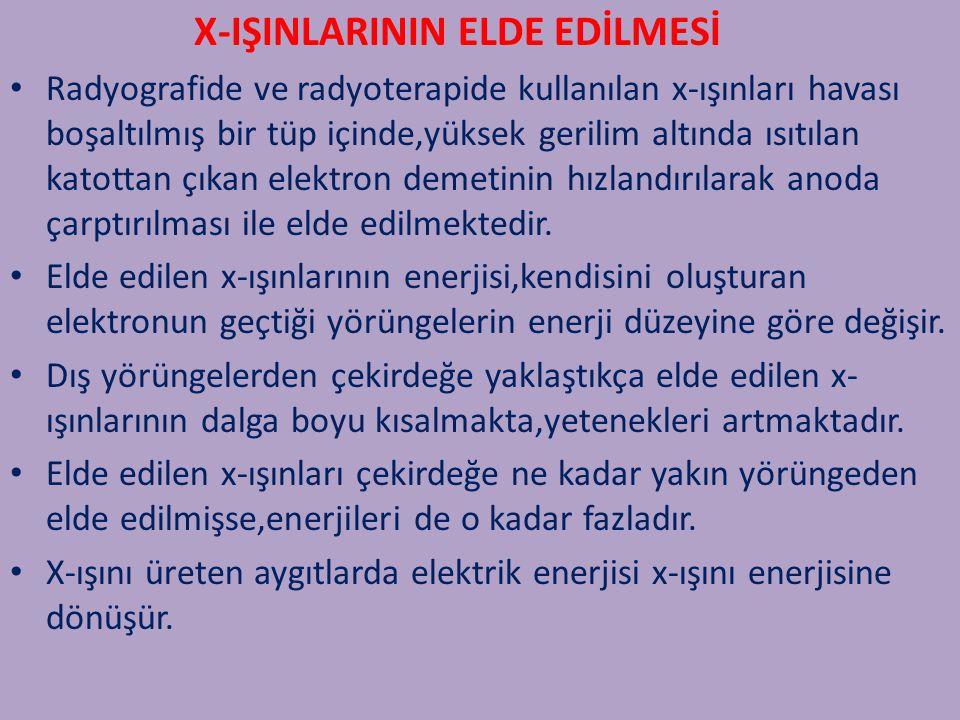 X-IŞINLARININ OLUŞUMU X-ışınları, doğal X-ışınları ve yapay X-ışınları olmak üzere iki şekilde meydana gelir; 1) Doğal X-Işınları: Atom çekirdeği tarafından K enerji kabuğundan elektron yakalanması, alfa bozunumu, iç dönüşüm ve beta bozunumu olaylarıyla meydana gelir.