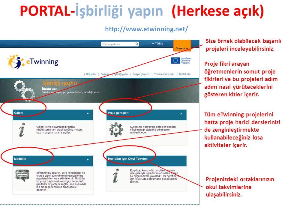 PORTAL-İşbirliği yapın (Herkese açık) http://www.etwinning.net/ Size örnek olabilecek başarılı projeleri inceleyebilirsiniz.
