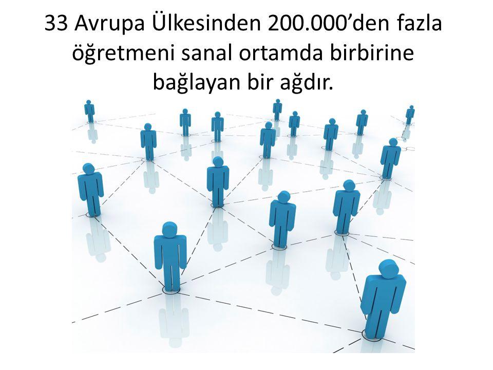 33 Avrupa Ülkesinden 200.000'den fazla öğretmeni sanal ortamda birbirine bağlayan bir ağdır.