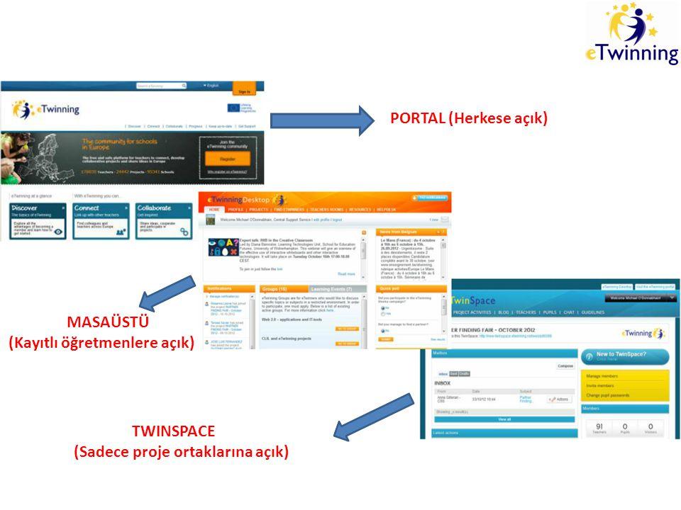 PORTAL (Herkese açık) MASAÜSTÜ (Kayıtlı öğretmenlere açık) TWINSPACE (Sadece proje ortaklarına açık)