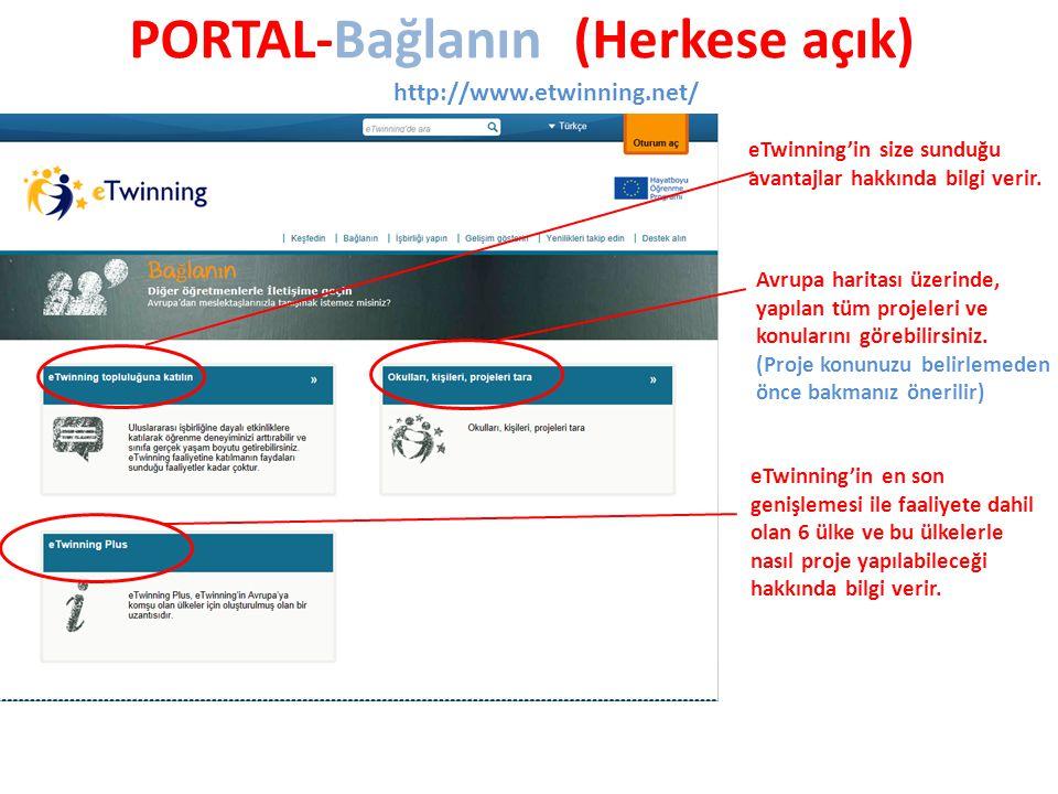 PORTAL-Bağlanın (Herkese açık) http://www.etwinning.net/ eTwinning'in size sunduğu avantajlar hakkında bilgi verir.