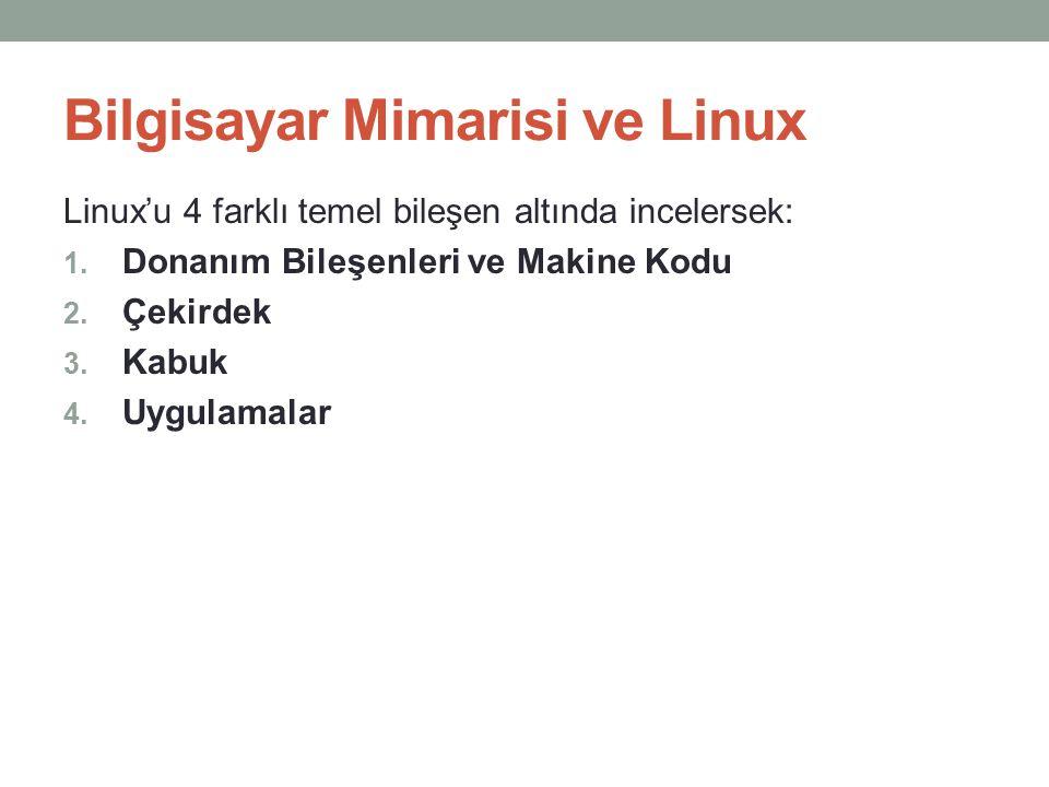 Bilgisayar Mimarisi ve Linux Linux'u 4 farklı temel bileşen altında incelersek: 1. Donanım Bileşenleri ve Makine Kodu 2. Çekirdek 3. Kabuk 4. Uygulama