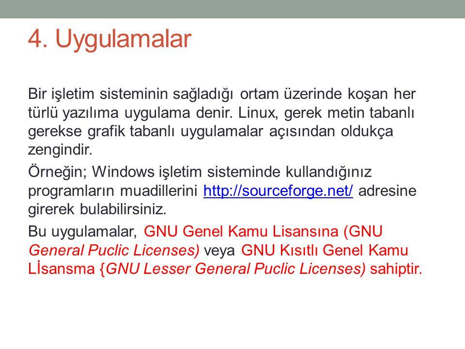 4. Uygulamalar Bir işletim sisteminin sağladığı ortam üzerinde koşan her türlü yazılıma uygulama denir. Linux, gerek metin tabanlı gerekse grafik tab