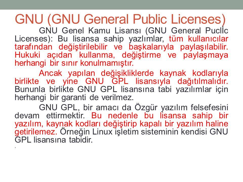 GNU (GNU General Public Licenses) GNU Genel Kamu Lisansı (GNU General Puclİc Licenses): Bu lisansa sahip yazlımlar, tüm kullanıcılar tarafından değişt