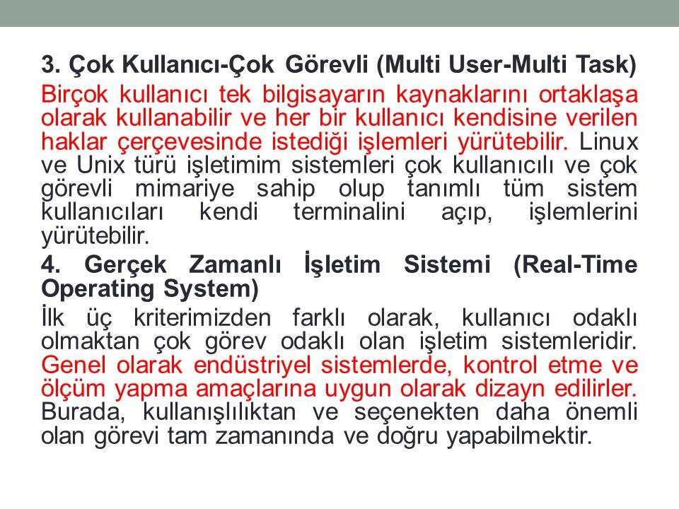 3. Çok Kullanıcı-Çok Görevli (Multi User-Multi Task) Birçok kullanıcı tek bilgisayarın kaynaklarını ortaklaşa olarak kullanabilir ve her bir kullanıcı