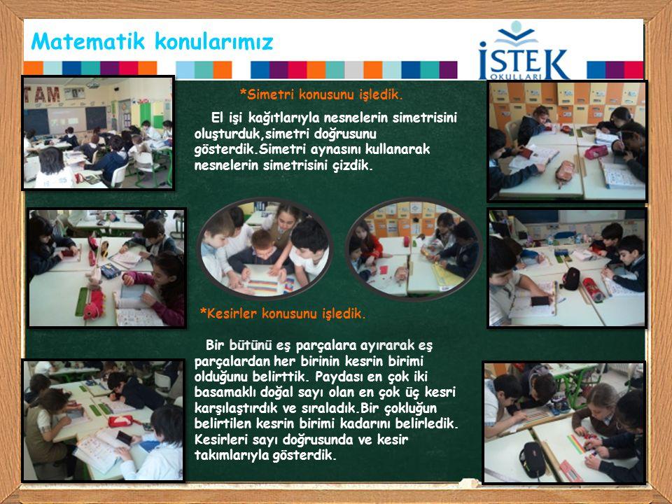 Matematik konularımız *Simetri konusunu işledik. El işi kağıtlarıyla nesnelerin simetrisini oluşturduk,simetri doğrusunu gösterdik.Simetri aynasını ku